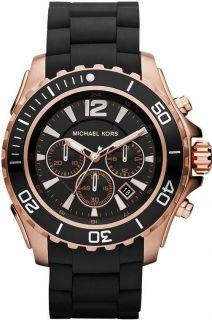 New Michael Kors Men MK8269 Black Band Oversized Chrono Dial Watch