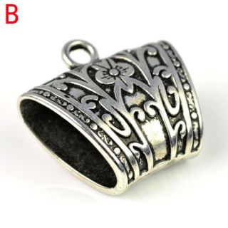 12 Pcs CCB DIY Jewelry Findings Scarf Bails Antique Golden Silver Tube