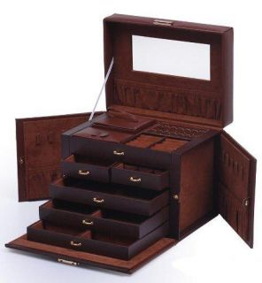Brown Leather Jewelry Box Organizer with Travel Case and Lock
