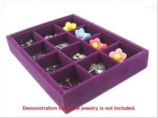 Purple Velvet 12 Compartment Jewelry Show Box Case Tray