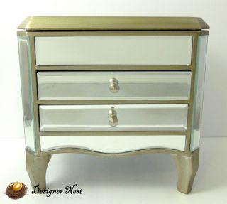 Mirror Mirrored Jewelry Box Chest Champagne by Bella Lux
