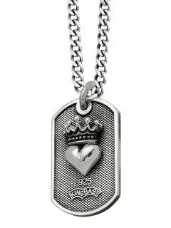 King Baby Dog Tag Heart Fleur de Lis Crown Necklace 925