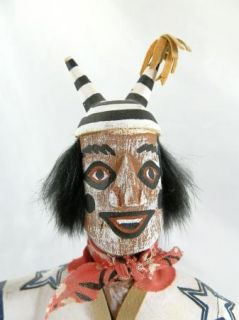 Vintage Navajo Hano Clown Kachina Signed K. Begay Dallas Cowboys Texas