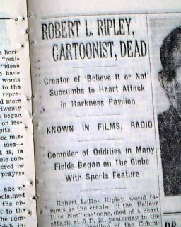 Robert Ripleys Believe It or not Odd Facts Cartoonist Death 1949 NY