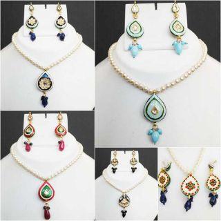 Indian Jewelry Set Pearl Bead FA Kundan MEENAKARI Pendant Necklace