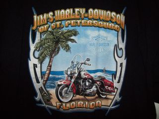 Harley Davidson T Shirt Black Genuine Motorcycles Jims St Petersburg