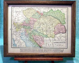 Antique Framed Map of Austria Hungary Interesting Map