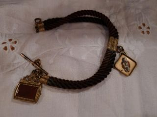 Antique Double Hair Watch Chain Two Fobs Cornelian