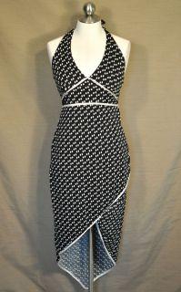 Jodi Kristopher Black Off White Polka Dot Halter Style Tapered Dress