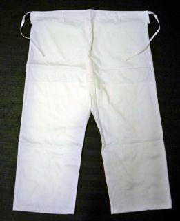 Plain White Brazilian Jiu Jitsu Gi Pants No Logos Cotton