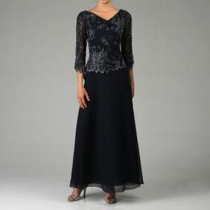 Kara Womens Navy Beaded Dress Size 8