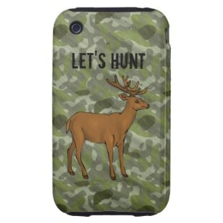 Green Camo Deer Antlers Hunting Hunter Designer Tough iPhone 3 Covers