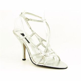 Jennifer Lopez Bling Womens Size 10 Silver Leather Dress Sandals Shoes