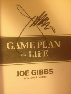 Joe Gibbs Autographed Book Game Plan for Life Washington Redskins Mini