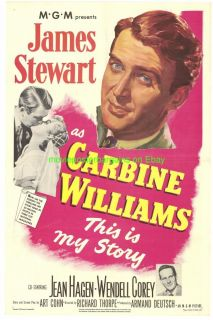 Carbine Williams Movie Poster Jimmy Stewart 1952