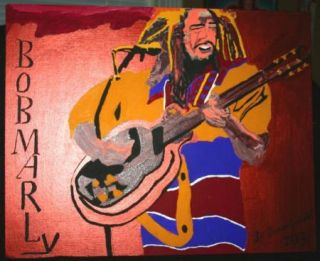 Vincent Wright Folk Art Painting Bob Marley Outsider Artist from