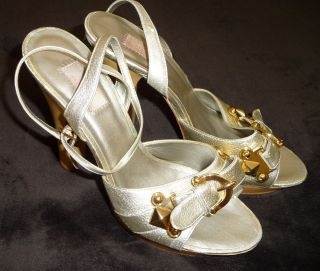 JLO by Jennifer Lopez Woman Shoes High Heels 8 5 Gold with Leather