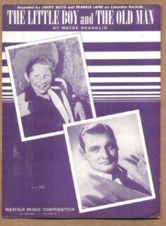 Little Boy The Old Man 1953 Jimmy Boyd Frankie Laine Vintage Sheet