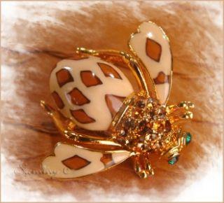 Joan Rivers Crystal Enamel Animal Print Leopard Bee Bug Pin