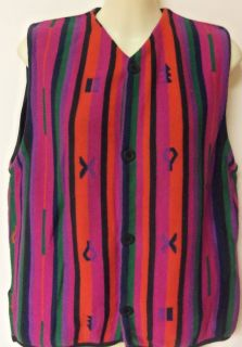 Size 2 Red Striped Sweater Vest Sleeveless Top by Joan Vass USA
