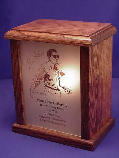 Penn State University Joe Paterno Commemorative Light Etched Glass Oak