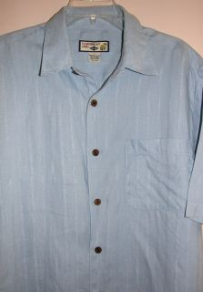 Caribbean Joe 100 Linen Hawaiian Camp Shirt Light Blue