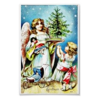 Christmas greeting with an angel carrying christmas tree and toys and