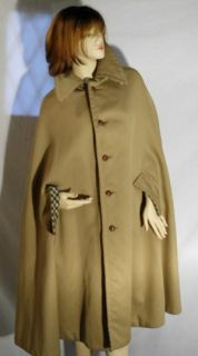 Joan Leslie Vtg Reversible Wool Gabardine Cape Coat