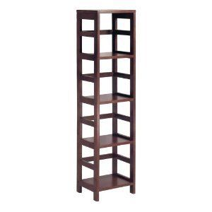 Winsome Wood 4 Shelf Narrow Shelving Unit, Espresso 55 High Frames