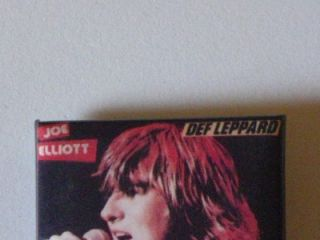 Def Leppard Joe Elliott Vtg 80s Square Pin Pinback Promo Button Badge