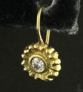 18K Gold Lovely 24ct VS2 G Diamond Flower Hook Earrings