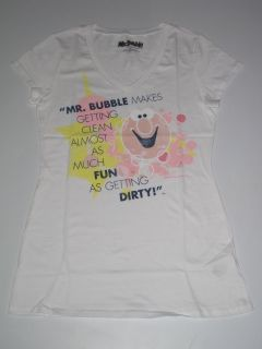 Womens Mr Bubble Bubble Soap White Shirt Tee Drawing Tshirt New