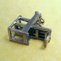Sterling Silver Charm MOVABLE MINIATURE GUTENBERG PRINTING PRESS