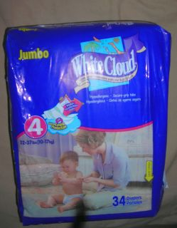 WHITE CLOUD DISPOSABLE DIAPERS JOHN LENNON PRINT SIZE 4 QUANTITY 34