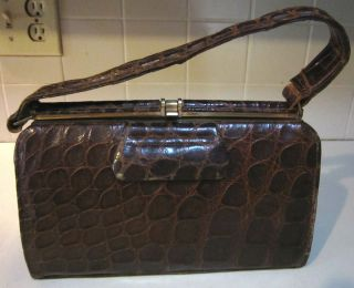 Alligator Crocodile Brown Handbag Purse by Sir John Bennett