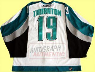 San Jose Sharks white jersey autographed by Joe Thornton. The jersey