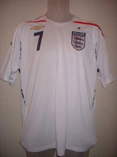 England Beckham Football Soccer Home Shirt Jersey Uniform 2007 09