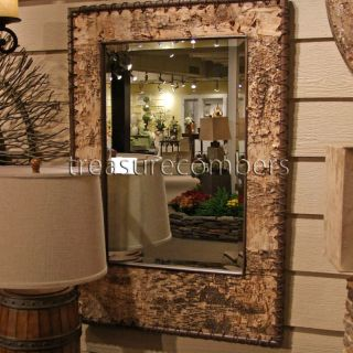 Telluride Large Wood Birch Bark Beveled Wall Mirror