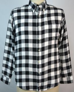 John Ashford Ivory Mist Black Plaid Flannel Button Front Shirt Long