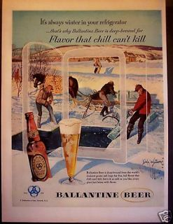 1953 Ballantine Beer Winter Scene John Clymer Ad