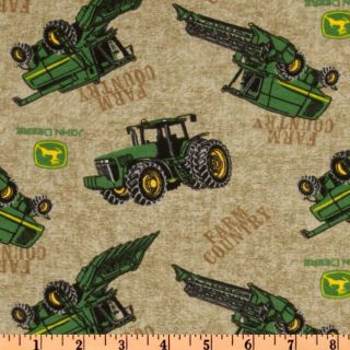JOHN DEERE FARM COUNTRY TRACTOR TOSS 100% COTTON FLANNEL FABRIC 1/2