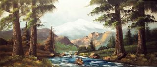 John Aubrey Speer Huge Original Oil Mountain Landscape Painting