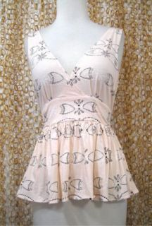 Keer Anthropologie Pale Pink Tie Waist Flattering Patterned Tank Top