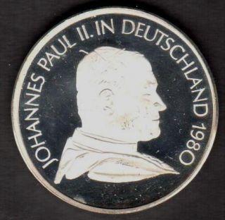 POPE JOHN PAUL II IN DEUTSCHLAND 1980 SILVER MEDAL 14 8 GRAMS SEE