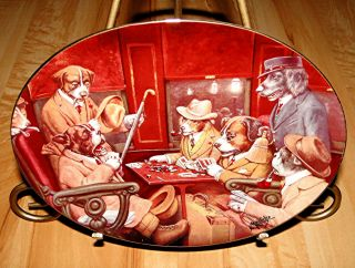 Full House Brown Bigelow Franklin Mint Puppy Dog Poker Card Game Plate