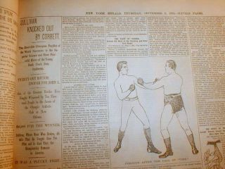 bound volume newspapers JAMES J CORBETT defeats JOHN L SULLIVAN Boxing