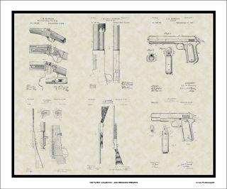 Patent Art Poster John Browning Firearms Gun Hunter Shooter Print Gift