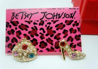 Betsey Johnson Full Crystal High Heels Handba Earrings 069E BJ Y