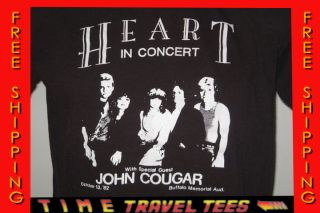 1982 HEART CONCERT T Shirt MEDIUM rock tour 80s JOHN COUGAR MELLENCAMP