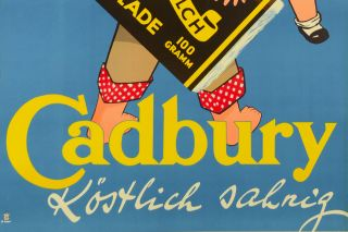 Vintage Chocolate German Ad Poster Cadburys schokolade by Sim